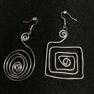 handmade silver wire earrings circular/square